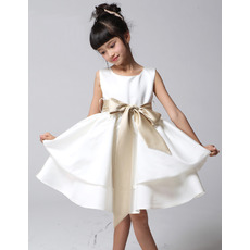 A-Line Knee Length Satin First Communion/ Flower Girl Dresses
