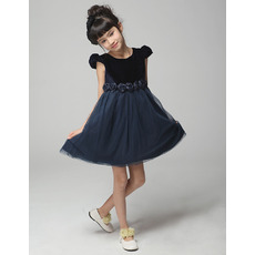 A-Line Round/ Scoop Short Satin Flower Girl Dresses