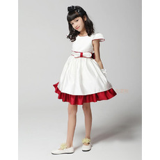 A-Line Cap Sleeves Short Satin Flower Girl Dresses