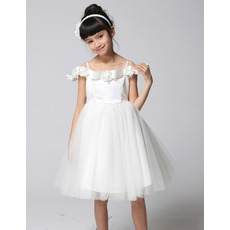 A-Line Spaghetti Straps Knee Length Flower Girl Dresses