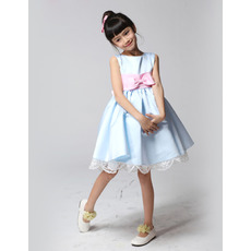 Discount A-Line Knee Length Satin Flower Girl Dresses