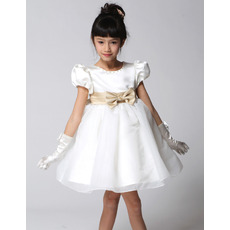 Ball Gown Short Satin First Communion/ Flower Girl Dresses