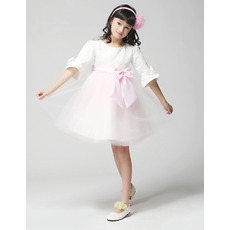 Half Sleeves Knee Length First Communion/ Flower Girl Dresses