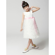 A-Line Knee Length Ruffle First Communion/ Flower Girl Dresses