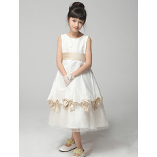 A-Line Tea Length Satin First Communion/ Flower Girl Dresses