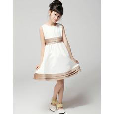 A-Line Round Short Satin First Communion/ Flower Girl Dresses