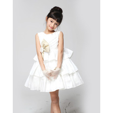 A-Line Short Taffeta Tiered First Communion/ Flower Girl Dresses