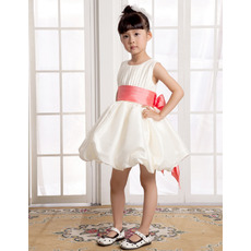 A-Line Short Satin First Communion/ Flower Girl Dresses