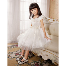 Knee Length Organza First Communion/ Flower Girl Dresses