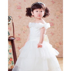Ball Gown Tea Length Satin Flower Girl Dresses