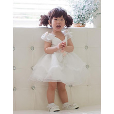 Ball Gown Cap Sleeves Short Organza Flower Girl Dresses