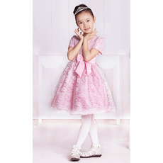 Lace Short Sleeves Knee Length Flower Girl Dresses