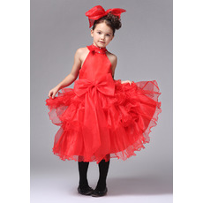 A-Line High-Neck Knee Length Satin Organza Flower Girl Dresses