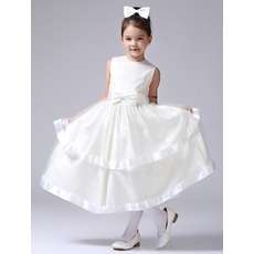 Tea Length Satin First Communion/ Flower Girl Dresses