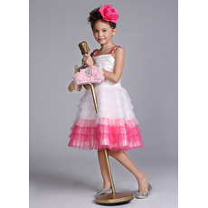 Knee Length Tiered Easter Dresses/ Flower Girl Dresses