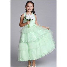 Halter Tea Length Satin Easter Dresses/ Flower Girl Dresses