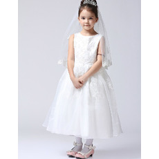 Ball Gown Tea Length First Communion/ Flower Girl Dresses