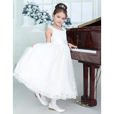 Custom Tea Length Organza First Communion/ Flower Girl Dresses