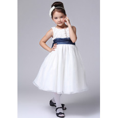 A-Line Round Knee Length Satin Flower Girl Dresses