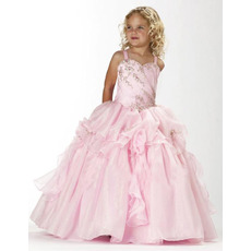 Ball Gown Straps Floor Length Satin Flower Girl Dresses