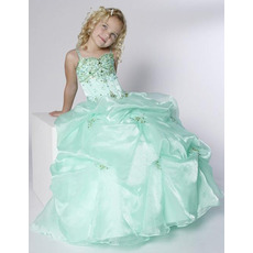 Ball Gown Straps Floor Length Pick-Up Flower Girl Dresses