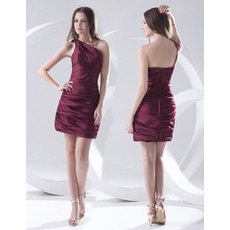 Affordable Column One Shoulder Short Satin Homecoming/ Party Dresses