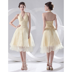 Discount A-Line Halter Knee Length Satin Homecoming/ Party Dresses