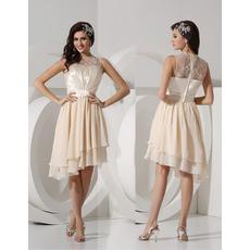Custom Knee Length Asymmetric Chiffon Homecoming/ Party Dresses