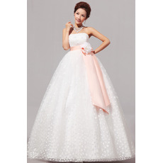 Empire Strapless Floor Length Organza Dresses for Spring Wedding