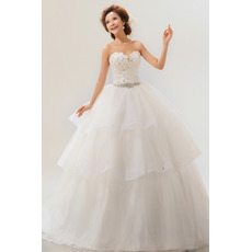 Inexpensive Tiered Ball Gown Sweetheart Long Organza Wedding Dresses