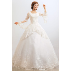 Elegant Lace Long Sleeves Ball Gown Floor Length Wedding Dresses
