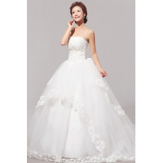 Sweep Train Organza Ball Gown Strapless Dresses for Spring Wedding