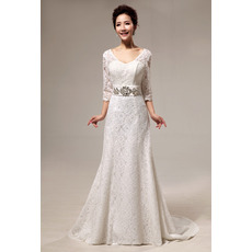 Custom Elegant Lace Sweep Train A-Line Wedding Dresses with Sleeves