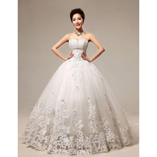 Affordable Embroidery Ball Gown Floor Length Organza Wedding Dresses
