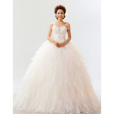 Ruffle Organza Sweetheart Ball Gown Long Dresses for Spring Wedding
