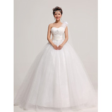 Organza One Shoulder Ball Gown Floor Length Dresses for Spring Wedding