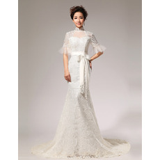 Discount Mermaid Lace Mandarin Collar Short Sleeves Wedding Dresses