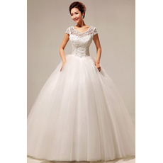 Custom Lace Short Sleeves Ball Gown Floor Length Wedding Dresses