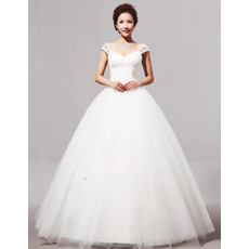 V-Neck Cap Sleeves Ball Gown Long Satin Dresses for Spring Wedding