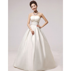 Discount Simple A-Line Strapless Floor Length Satin Wedding Dresses