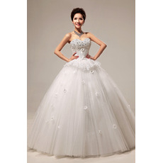Beaded Sweetheart Ball Gown Floor Length Satin Dresses for Spring Wedding