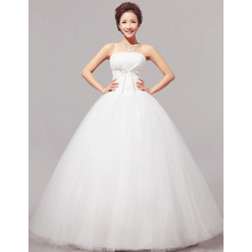 Discount Simple Ball Gown Strapless Floor Length Satin Wedding Dresses