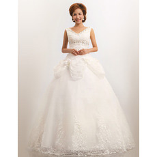 V-Neck Organza Ball Gown Floor Length Dresses for Spring Wedding