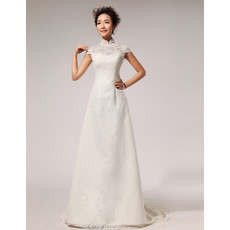 Affordablel Lace Mandarin Collar Cap Sleeves A-Line Wedding Dresses