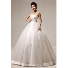 Discount Ball Gown Strapless Floor Length Satin Beaded Wedding Dresses
