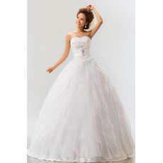 Tiered Skirt Organza Ball Gown Strapless Dresses for Spring Wedding