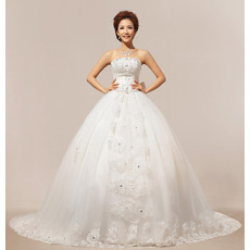 Discount Chapel Train Ball Gown Strapless Organza Wedding Dresses