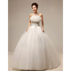 Inexpensive Ball Gown Floor Length Wedding Dresses with 3D Flowers