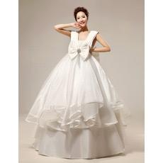 Classic Empire V-Neck Floor Length Satin Ball Gown Wedding Dresses