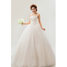 Strapless Floor Length Organza Ball Gown Dresses for Spring Wedding